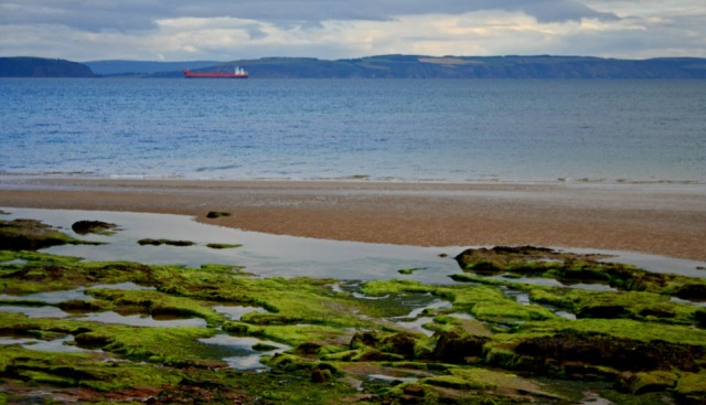 view from Nairn Beach with red ship