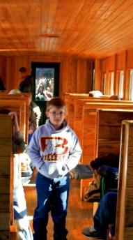 Boy inside caboose