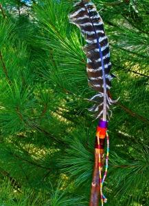 Decorated walking stick