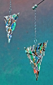 silvery glass dangles
