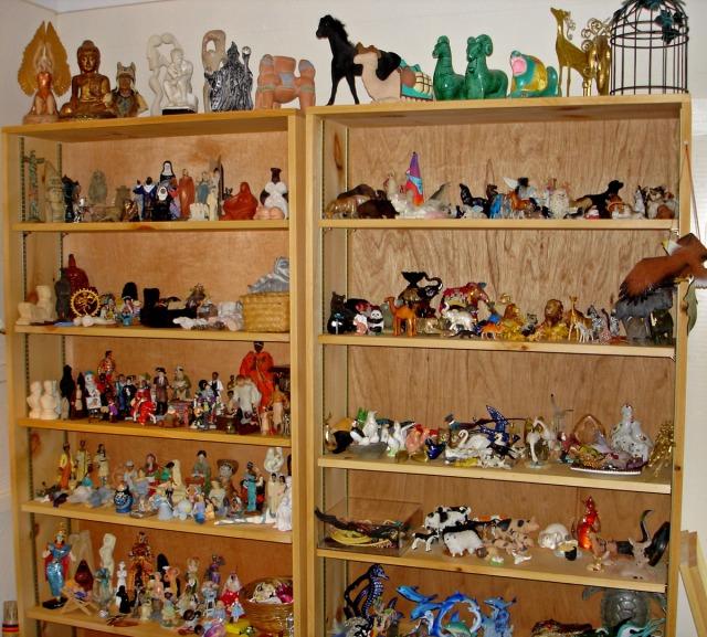Shelves with sandplay miniatures