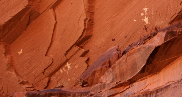 White figures on red rock