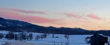 pink evening light