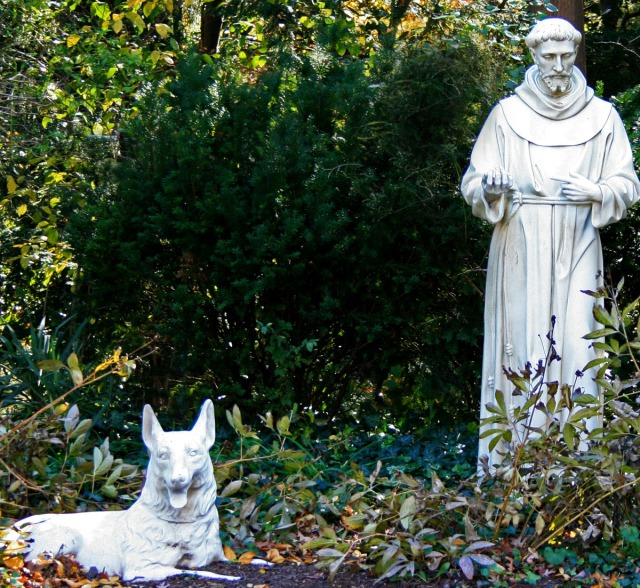 St Francis with a wolf or dog