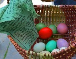 easter eggs and prayer flag