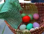 easter eggs and prayer flag