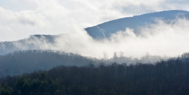 Mist rising from the mountain
