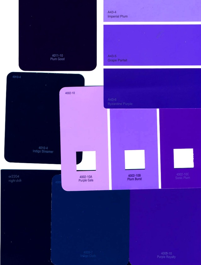 Shades of purple to indigo