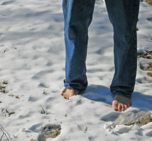 barefoot in the snow