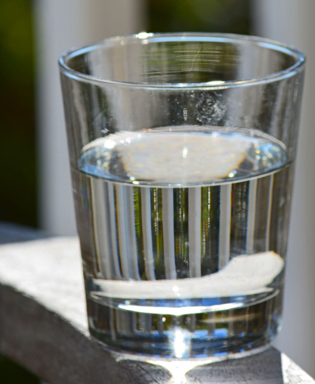 a glass of water