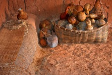 Gourds and woven mats