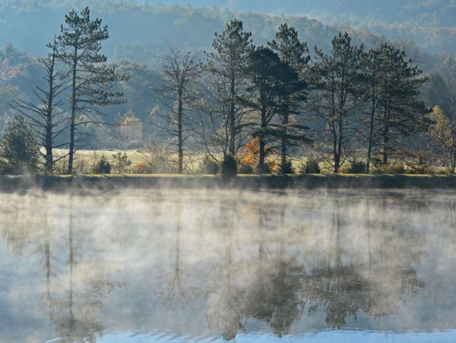 steam rising on pond