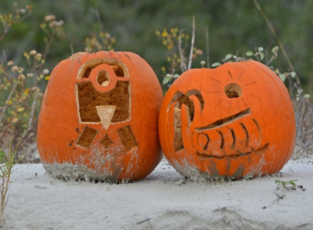 pumpkins on the beach