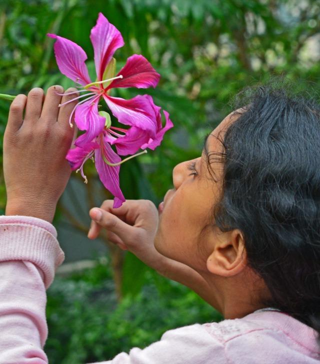 girl smelling blossom