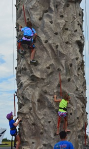 three girls climbing up